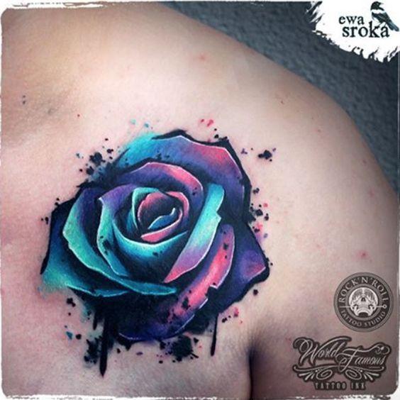 28 Nice Aqua Color Tattoos: Tatuagens De Flores Que Vão Transformar Sua Pele Em Um Jardim